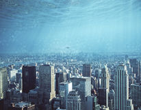 De abstracte achtergrond van de waterstad Stock Afbeeldingen
