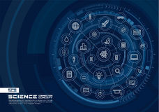 De abstracte achtergrond van de wetenschapstechnologie Digitaal sluit systeem aan geïntegreerde cirkels, gloeiende dunne lijnpict Stock Afbeelding