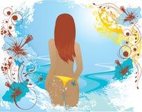 De abstracte achtergrond van de zomer met meisje Stock Foto