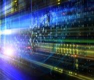 De abstracte achtergrond van de gegevensstroom met binaire code De dynamische stroom van de het concepteninformatie van de golven vector illustratie