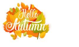 De Abstracte Achtergrond van Hello Autumn Yellow Leaf Fall Banner Royalty-vrije Stock Afbeelding
