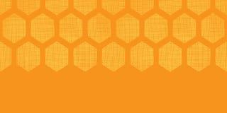 De abstracte achtergrond van het de stoffen geweven horizontale naadloze patroon van de honings gele honingraat Stock Fotografie