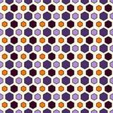De abstracte achtergrond van het honingraatnet in de traditionele kleuren van Halloween Herhaald onregelmatig hexagon behang royalty-vrije illustratie
