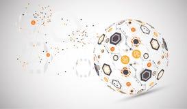 De abstracte achtergrond van het technologiegebied Globaal netwerkconcept stock illustratie