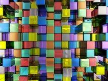 De abstracte achtergrond van kleurenkubussen Stock Afbeeldingen