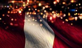 De Abstracte Achtergrond van Peru National Flag Light Night Bokeh Royalty-vrije Stock Foto