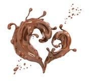 De abstracte achtergrond van de plonschocolade, 3d renderi van het chocoladehart Royalty-vrije Stock Afbeeldingen