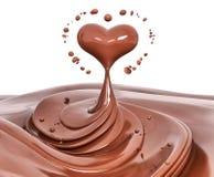 De abstracte achtergrond van de plonschocolade, 3d renderi van het chocoladehart Royalty-vrije Stock Foto's