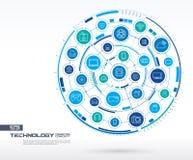 De abstracte Achtergrond van de Technologie Digitaal sluit systeem aan geïntegreerde cirkels, gloeiende dunne lijnpictogrammen aa Stock Afbeelding