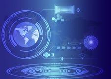 De abstracte achtergrond van technologiecirkels Stock Afbeelding