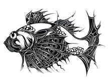De abstracte achtergrond van Vissen. Het ontwerp van de tatoegering Stock Afbeelding