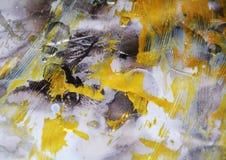 De abstracte achtergrond van de waterverfverf in gouden tinten royalty-vrije illustratie