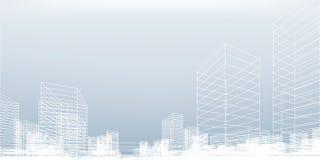 De abstracte achtergrond van de wireframestad 3D het perspectief geeft van de bouw terug wireframe vector illustratie