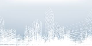 De abstracte achtergrond van de wireframestad 3D het perspectief geeft van de bouw terug wireframe royalty-vrije illustratie