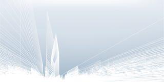 De abstracte achtergrond van de wireframestad 3D het perspectief geeft van de bouw terug wireframe stock illustratie