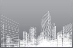De abstracte achtergrond van de wireframestad 3D het perspectief geeft van de bouw terug wireframe Vector vector illustratie