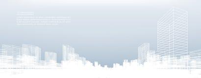 De abstracte achtergrond van de wireframestad 3d het perspectief geeft terug vector illustratie