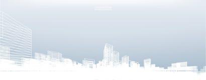 De abstracte achtergrond van de wireframestad 3d het perspectief geeft terug stock illustratie