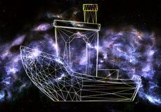 De abstracte artistieke 3d computer produceerde het teruggeven van illustratie van een unieke schaduw van een motor op een zwarte stock illustratie