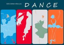 De abstracte ballerina's met het kleurrijke kunstwerk ontwerpen en het Leven van het inspiratiebericht is beter wanneer u danst K Stock Foto's
