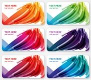 De abstracte banners van kleurenetiketten bezoeken kaarten Stock Afbeeldingen