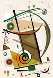 De abstracte beige achtergrond, stelt zich geometrische en gebogen vormen, stijl 18-92 van de expressionismekunst voor stock illustratie