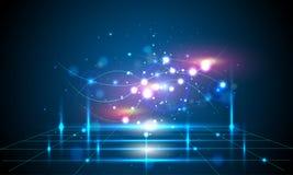 De abstracte blauwe achtergrond is een technologielijn Royalty-vrije Stock Afbeelding