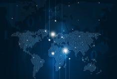 De abstracte Blauwe Achtergrond van de Binaire Codekaart Stock Foto