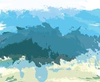 De abstracte blauwe achtergrond van de verf artistieke borstel Royalty-vrije Stock Foto's