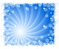 De abstracte blauwe achtergrond van de wervelingssneeuwvlok Royalty-vrije Stock Fotografie