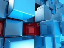 De abstracte Blauwe Achtergrond van het Kubussen Futuristische Ontwerp Stock Foto's