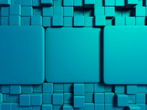 De abstracte blauwe achtergrond van het kubussenontwerp Stock Afbeeldingen