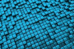 De abstracte Blauwe Achtergrond van Kubussen - Lange afstand Royalty-vrije Stock Afbeelding