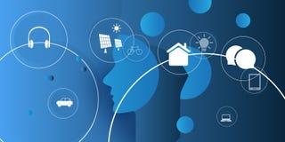 De abstracte Blauwe Digitale Technologie, Machine die, Kunstmatige intelligentie, Cloud Computing, Stemmedewerker, automatiseerde vector illustratie