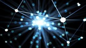 De abstracte blauwe futuristische knoop van het technologienetwerk Kabelgegevens lin Royalty-vrije Stock Foto's