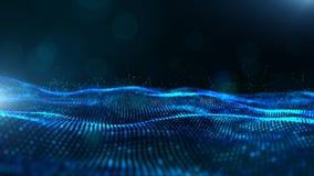 De abstracte blauwe golf van kleuren digitale deeltjes met bokeh en lichte achtergrond stock illustratie