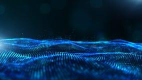 De abstracte blauwe golf van kleuren digitale deeltjes met bokeh en lichte achtergrond royalty-vrije illustratie