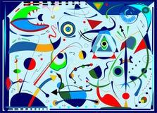 De abstracte blauwe horizontale stijl van de achtergrondsurrealismekunst stock afbeelding