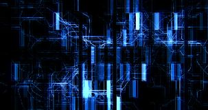 De abstracte blauwe kringscomputer verbindt achtergrondbeweging, concept toekomstige technologie en informatie stock video