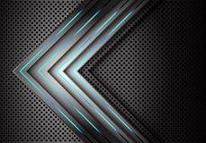 De abstracte blauwe lichte richting van de machts grijze pijl op van het het netwerkontwerp van de metaalcirkel de technologie fu stock illustratie