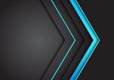De abstracte blauwe lichte richting van de neonpijl op donkere grijze lege ruimteontwerp moderne futuristische vector als achterg vector illustratie