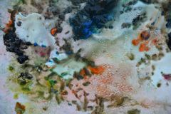 De abstracte blauwe oranje kleuren en de tinten van de mengelingsverf Abstracte unieke natte verfachtergrond Schilderende vlekken Royalty-vrije Stock Afbeelding
