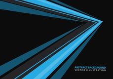 De abstracte blauwe richting van de snelheidspijl op zwarte ontwerp moderne futuristische vector als achtergrond stock illustratie
