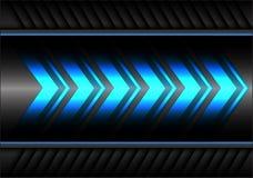 De abstracte blauwe snelheid van de pijl lichte macht op grijze van het metaalontwerp moderne futuristische vector als achtergron stock illustratie