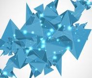 De abstracte blauwe technologie en de ontwikkeling van de netwerkdriehoek backgroun Stock Afbeelding