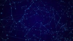 De abstracte blauwe video bewegende achtergrond van vlechtdeeltjes met glanst op achtergrond royalty-vrije illustratie