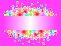 De abstracte bloemen vliegen uit het kader Plaats voor tekst Heldere roze achtergrond royalty-vrije stock afbeelding