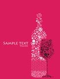 De abstracte bloemenfles en het glas van de Wijn. Royalty-vrije Stock Afbeeldingen