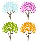 De abstracte bomen van de vier seizoenen Stock Foto