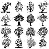 De abstracte boom isoleerde silhouet Stock Afbeelding